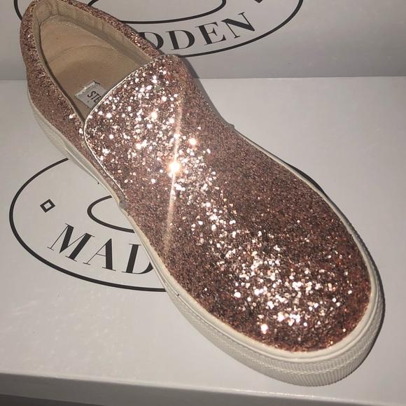 5ff3270f289 Steve madden glitter bling rose gold blush sneaker